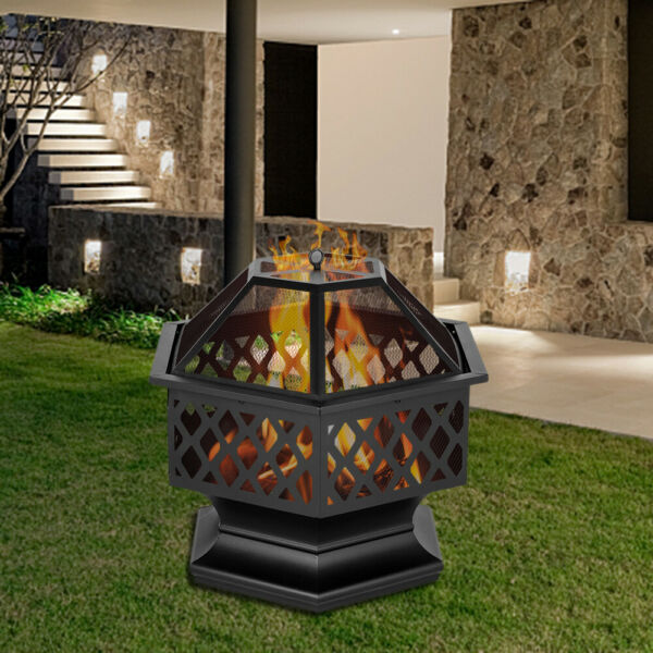 Fire Pit Outdoor Patio Metal Heater Deck Backyard Fireplace Cover Iron Chiminea