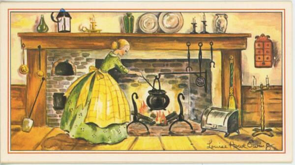 VINTAGE FIREPLACE COOKING PUMPKIN PIE RECIPE PRINT 1 SPRING GARDEN FOLK ART CARD