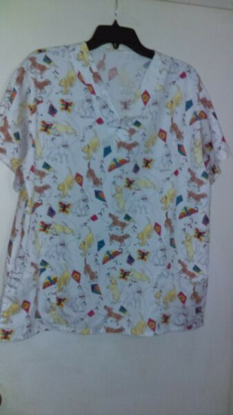 Women#x27;s Scrubs Top Dogs Kites And Butterflies XL $8.00
