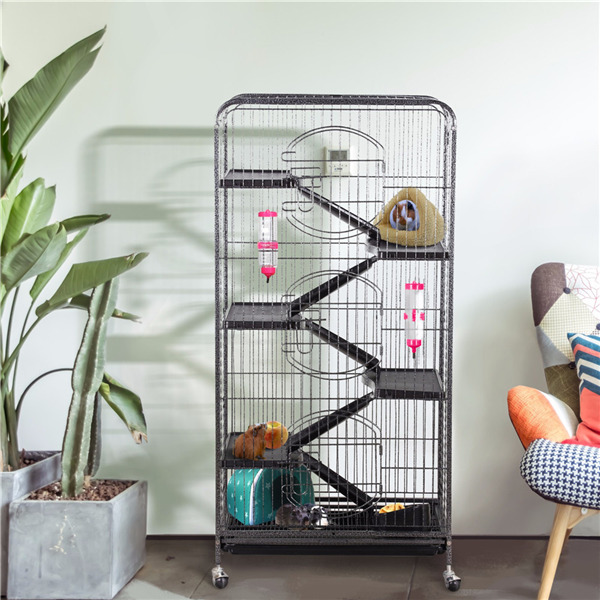 6 Levels Ferret Cage Rolling Large Small Animals Hutch for Rat Chinchilla