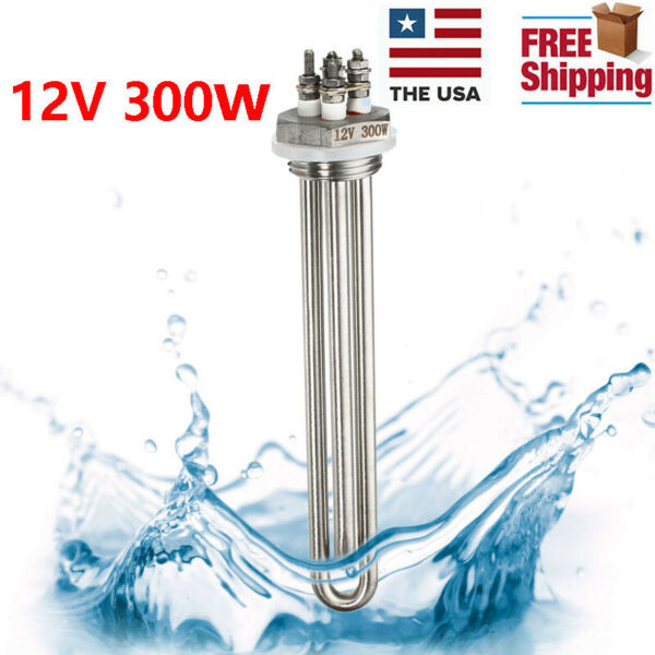 12V 300W Stainless Steel Immersion Water Heater Electric Tube Heating Element YZ