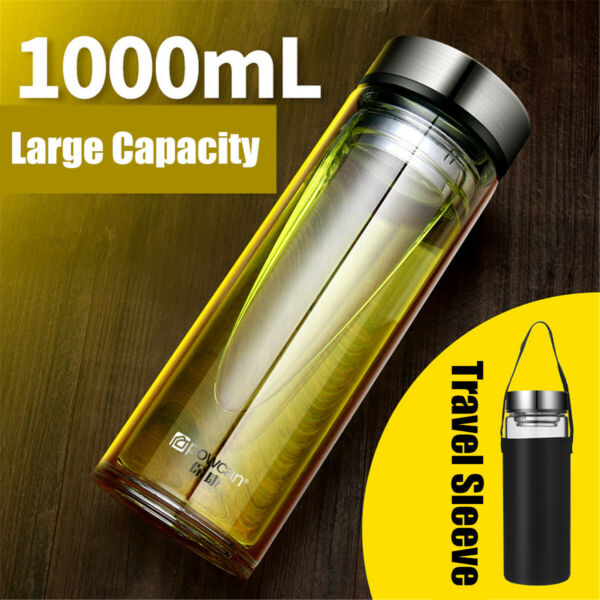 US 1000ML Portable Glass Water Bottle Double Walled Sport Mug Tea Cup Travel Bag