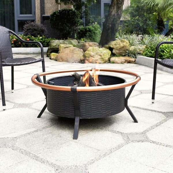 Outdoor Fire Pit with Oversized Bowl and Copper Ring - Black and Copper wpoker