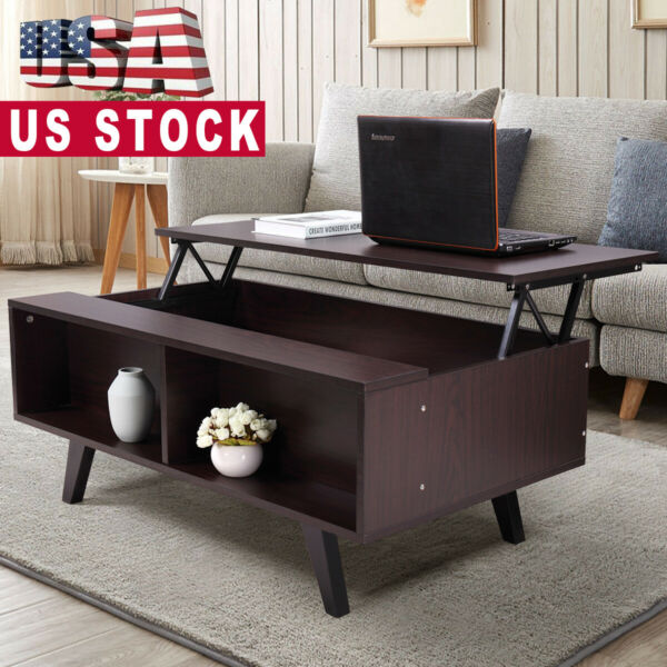 Lift Top Coffee Table w 2 Hidden Compartment Storage Shelf Living Room Furniture