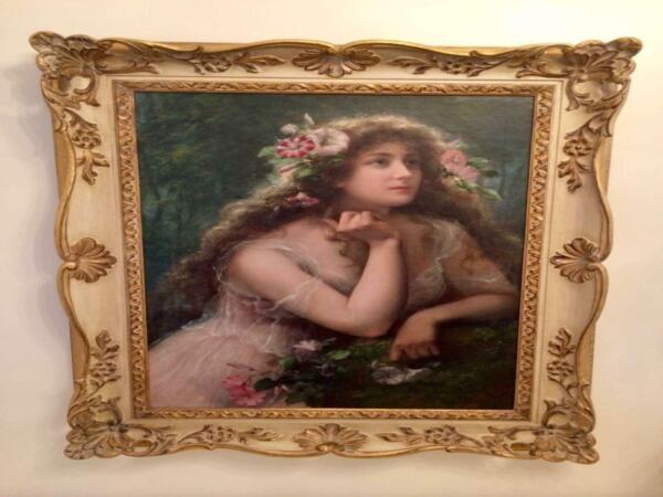 A Garland Of Morning Glories Emile Vernon Oil On Canvas Painting Circa 1900