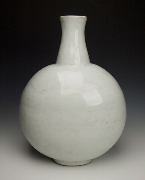 CHINESE YONGLE MOONFLASK Museum Quality Tianbai Incised Porcelain Ming Dynasty