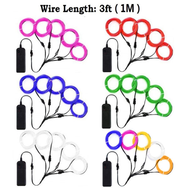 9ft 15ft 5 x 3ft Neon LED Light Glow EL Wire String Strip Rope Tube Controller