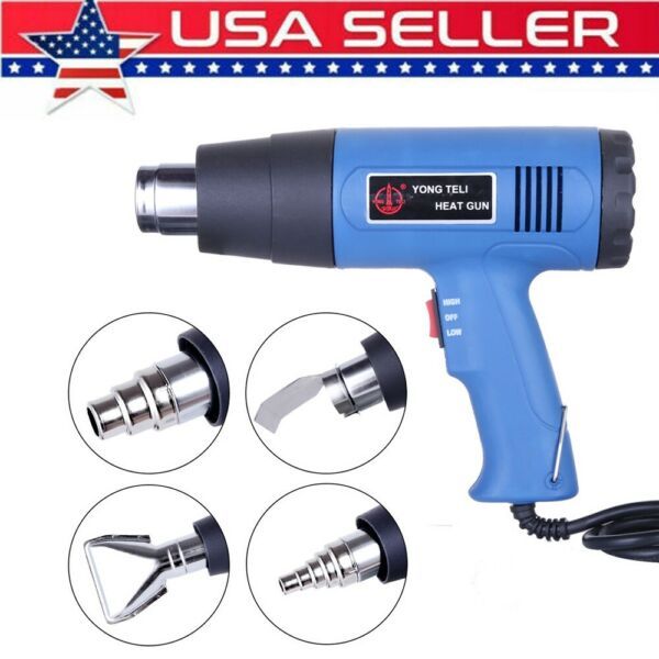 1500W Heat Gun Hot Air Wind Blower Dual Temperature + 4 Nozzles Power Heater US