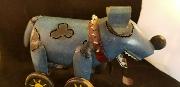 vintage metal Dog sculpture on Wheels $39.57