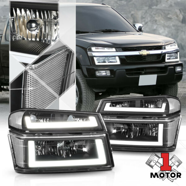 Black/Clear [LED BAR DRL] Headlight+Signal Lamp for 04-12 Colorado/Canyon/i280