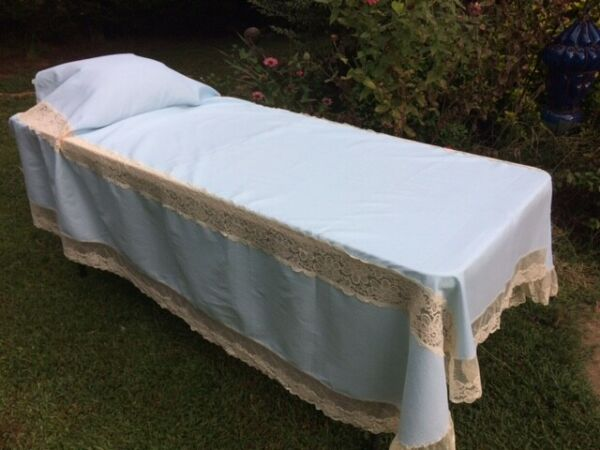 2 Vintage CUSTOM BED COVERS Blue Crepe with Lace TWIN Summer Covers Bedspread $49.79