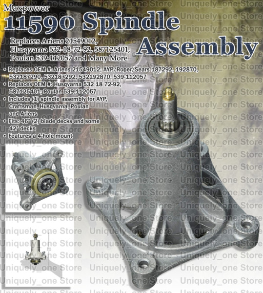 Heavy Duty Spindle Assembly Fits In Ariens 21549012 Husqvarna Poulan Maxpower