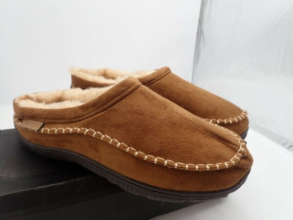 Wishcotton Men's Camel  Microsuede Fuzzy Lining Slippers Large (11-12)