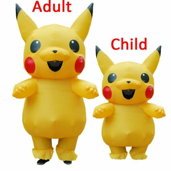 Adult Kid Unisex Mascot Pikachu Inflatable Costume Cosplay Halloween Funny Dress