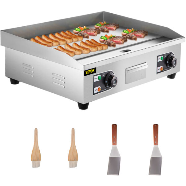 30in 2 Burner Griddle Grill flat top 77cm Stainless Steel Barbecue BBQ Cooking