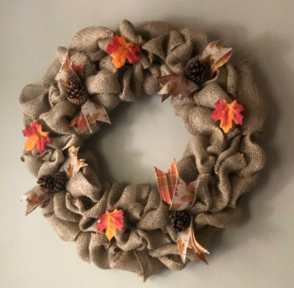 Homemade Burlap Fall Wreath home decor