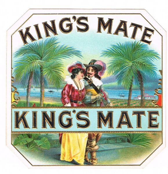 CIGAR BOX LABEL VINTAGE OUT CHROMOLITHOGRAPHY C1910 KINGS MATE STROLLING PAIR