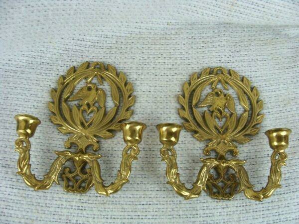 Vintage PAIR Eagle Wreath Solid Brass candle holders Wall Mount Sconce 8.5