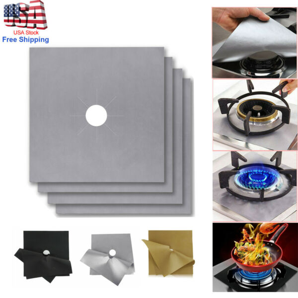 4Pcs Square Gas Range Stove Burner Covers Reusable Nonstick Top Protector Liners