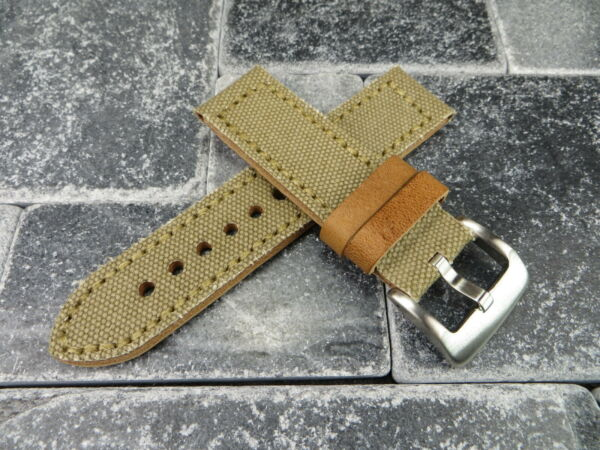 New 22mm BIG CANVAS LEATHER STRAP Light KHAKI Watch Band Copper for PANERAI