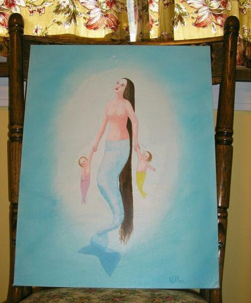 MERMAID SEA OF LOVE TRANQUILITY TWINS BABY NAUTICAL LISTED ARTIST OIL PAINTING