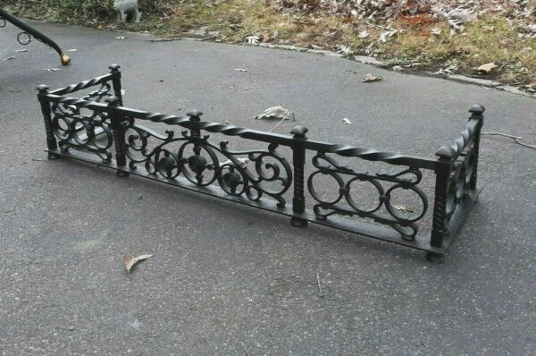 Antique Cast and Wrought Iron Small Fireplace Fender Victorian Aesthetic