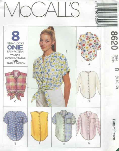 McCall's 8620 Misses' Shirts   Sewing Pattern