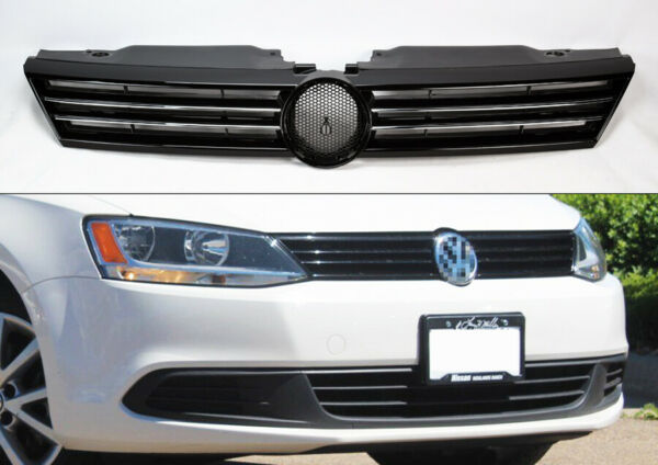 Replacement Black w/ Chrome Front Upper Grill for Volkswagen Jetta 2011-2014