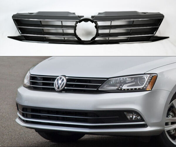 Replacement Black w/ Chrome Front Upper Grill for Volkswagen Jetta MK6 2015-2017