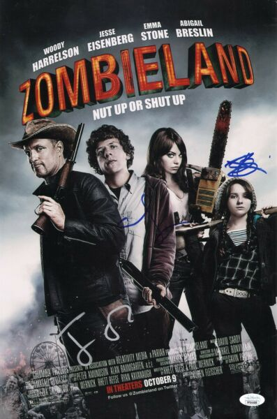 ZOMBIELAND Cast x3 Authentic Hand Signed quot;EMMA STONEquot; 11x17 Photo JSA COA