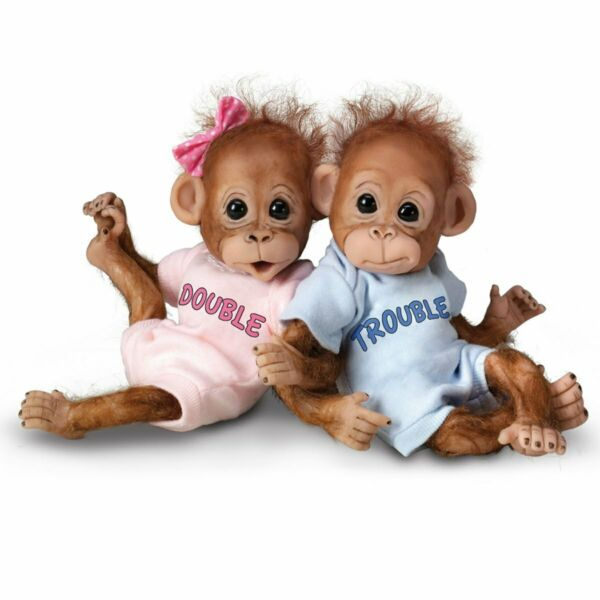 Ashton Drake Double Trouble Poseable Baby Orangutan Twins With Wispy Hair