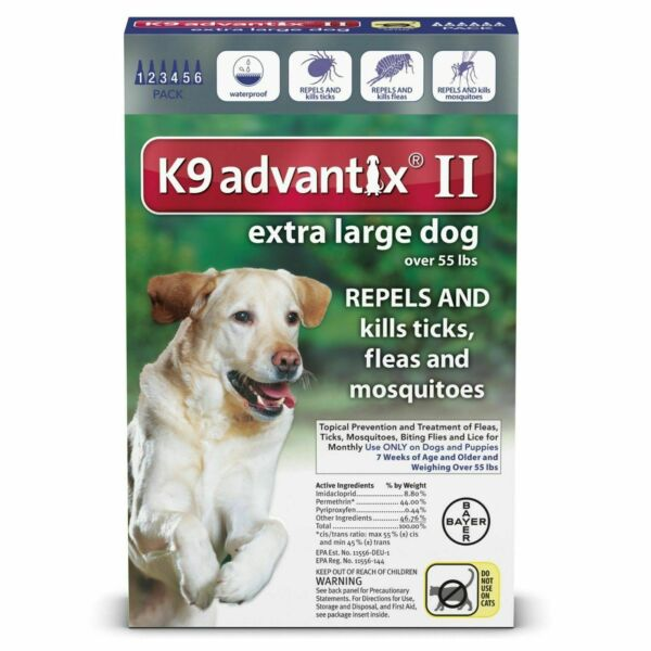 Bayer K9 Advantix II Flea and Tick Control Treatment for Dogs Extra Large Dogs