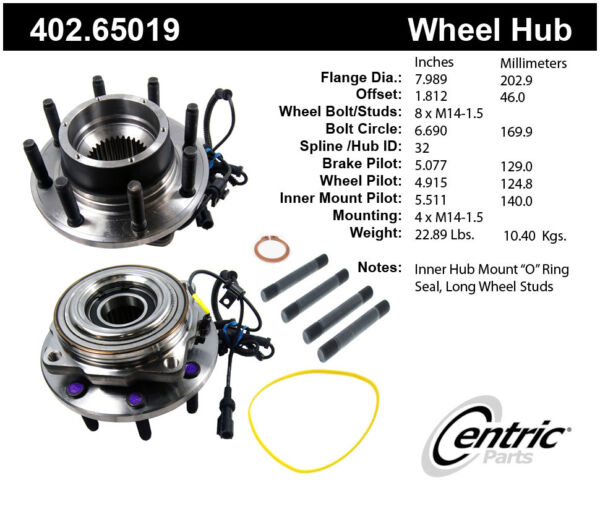 Axle Bearing and Hub Assembly-Premium Hubs Front Centric 402.65019
