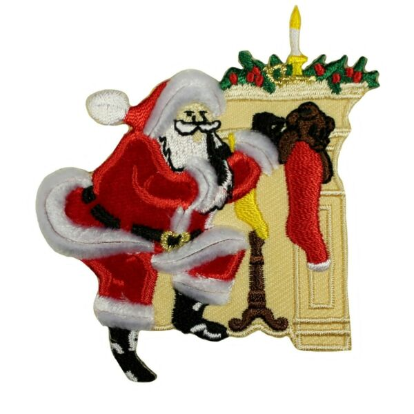ID 8032 Santa Stuffing Stockings Christmas Fireplace Iron On Applique Patch