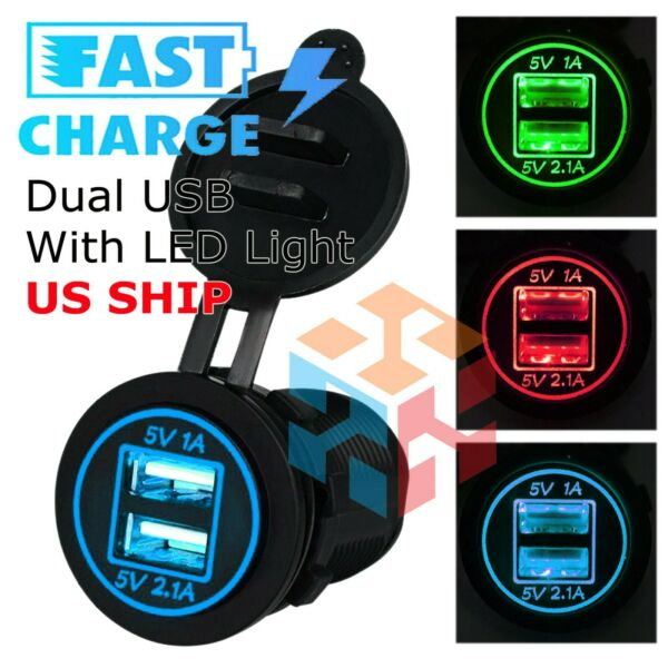 12V Car Cigarette Lighter Socket Splitter Dual USB Charger Power Adapter Outlet $7.95