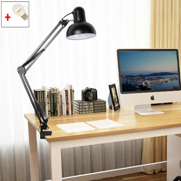 LED Long Swing Arm Desk Lamp W Clamp Metal Adjustable Reading Light Black White