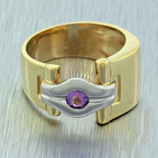 Vintage Estate 14k Yellow White Gold Amethyst Cocktail Unique Band Ring