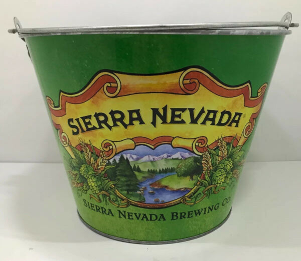 Sierra Nevada Brewing Co. Metal Beer Ice Bucket Pail Double-Sided 5 Quart 9x9x7