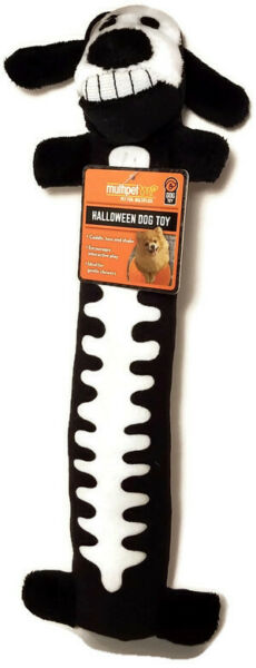 Multipet Black Skeleton Loofah Halloween Exercise Plush Squeaky Dog Toy 12