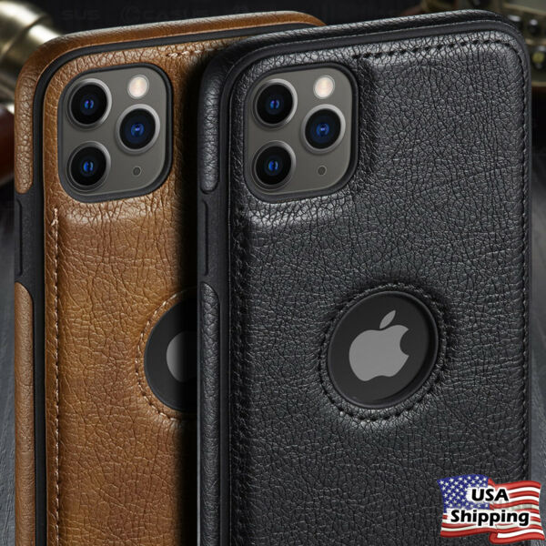For iPhone 12 11 Pro Max SLIM Luxury Leather Back Ultra Thin TPU Case Cover $10.95