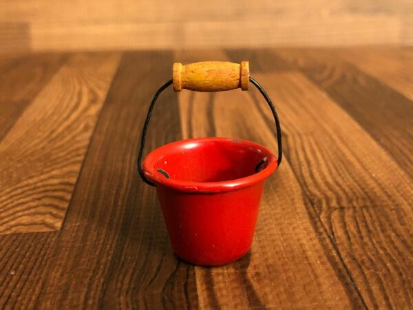 Vintage Miniature RED METAL PAIL  BUCKET with Handle Dollhouse Mini Tiny