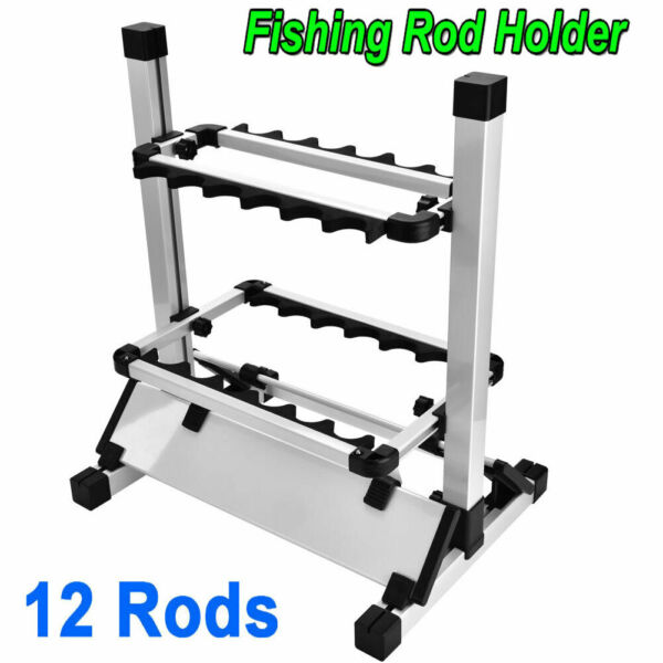 Fishing 12 Rods Wall Rack Pole Holder Portable Aluminum Alloy Stand Storage Tool $27.42
