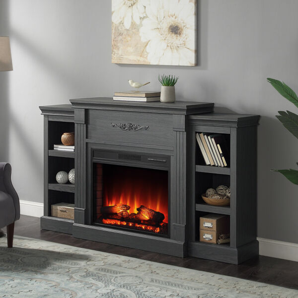 Entertainment Electric Fireplace Console Storage Wood with Remote Control Grey