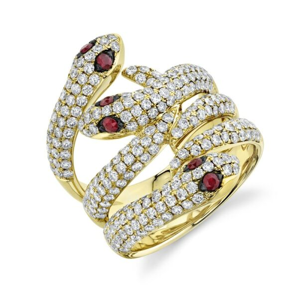 14K Yellow Gold Diamond Snake Ring Ruby Eyes Womens Cocktail Pave Round Natural