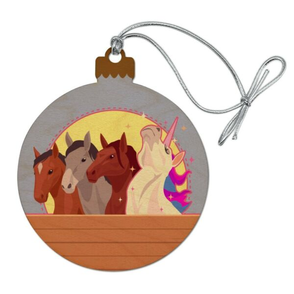 Unique Unicorn with Horses in Stable Wood Christmas Tree Holiday Ornament