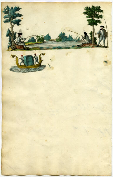 Antique Print-SCRAPBOOK PAGE-FISHING-GONDOLA-Anonymous-Ca. 1740