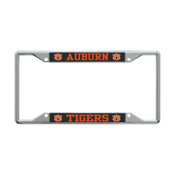 AUBURN TIGERS CARBON BACKGROUND 6quot;X12quot; METAL LICENSE PLATE FRAME WINCRAFT 👀 $20.00