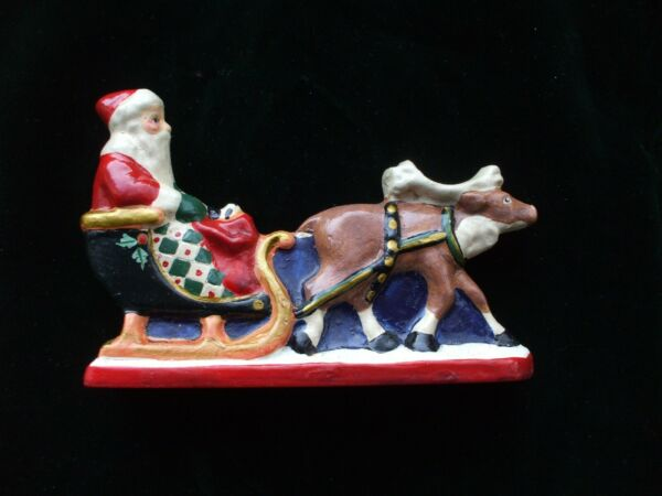 Vintage House of Hatten Santa Claus with Reindeer Sleigh Figure 1994 Christmas