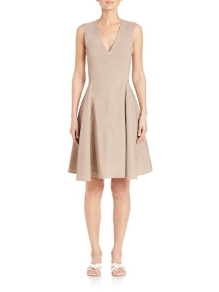 Theory Kalsington Tan Linen Fit Flare Dress $75.00