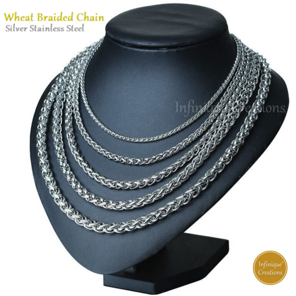 Stainless Steel Silver Wheat Braided Chain Bracelet And Necklace Men Women 7-38